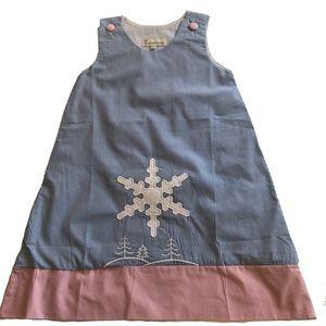 Butterbeans Lined Cotton Jumper Dress Snowflake